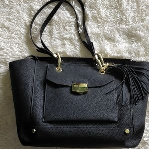 Steve Madden pebble grain black tote w/ cos bag
